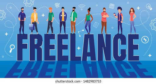 Happy Tiny Diverse People Workers Team Standing on Huge Flat Freelance Word. Freedom and Independence in Scheduling Work. Remote and Distant Job without Boss. Vector Abstract Illustration