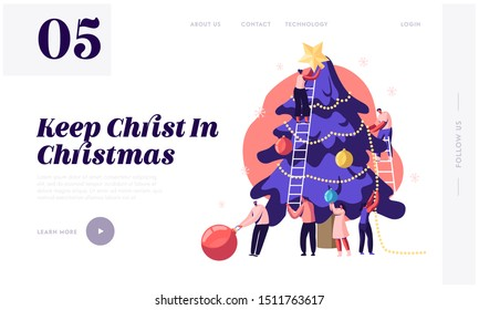 Happy Tiny People Decorate Huge Christmas Tree Website Landing Page. Friends Hanging Balls and Star on Spruce for New Year Winter Holidays Celebration Web Page Banner. Cartoon Flat Vector Illustration