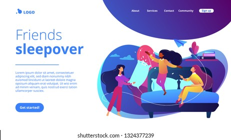 Happy tiny people female teens pillow fight in bedroom at slumber party. Pajama party, friends sleepover, slumber night party concept. Website vibrant violet landing web page template.