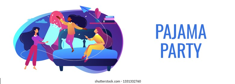 Happy tiny people female teens pillow fight in bedroom at slumber party. Pajama party, friends sleepover, slumber night party concept. Header or footer banner template with copy space.