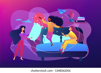 Happy tiny people female teens pillow fight in bedroom at slumber party. Pajama party, friends sleepover, slumber night party concept. Bright vibrant violet vector isolated illustration