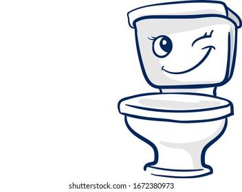 Happy toilet seat, illustration, vector on white background.