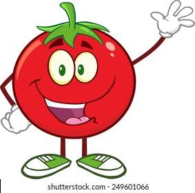 Happy Tomato Cartoon Mascot Character Waving. Vector Illustration Isolated On White