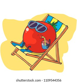 Happy tomato relaxes on the beach. Tomato drink cocktail. Tomato on vacation. Hand drawn vector. Cartoon character.