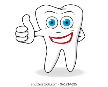 Happy Tooth Character Vector. Medical Healthcare Concept.