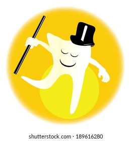 Happy Tooth Dancing smiling tooth with top hat and cane in front of a bright yellow spotlight.