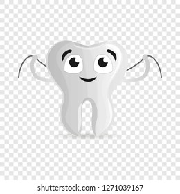 Happy tooth with floss icon. Cartoon of happy tooth with floss vector icon for web design for web design