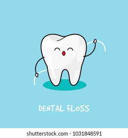Happy tooth icon. Cute tooth characters. Brushing teeth flossing. Dental personage vector illustration. Illustration for children dentistry. Oral hygiene, teeth cleaning.