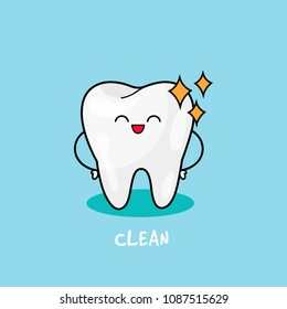 Happy tooth icon. Cute tooth characters. Clean Tooth shinning. Dental personage vector illustration. Illustration for children dentistry. Oral hygiene, teeth cleaning.