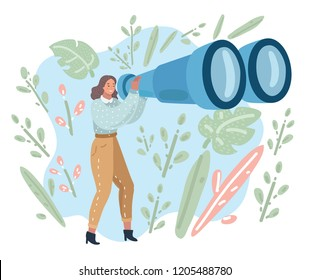 Happy tourist woman looking through big binoculars far ahead. Young lady is traveling with field glasses. Vector cartoon illustration in modern concept
