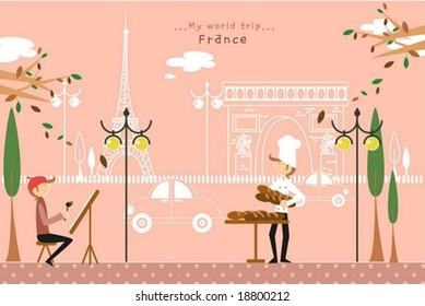 Happy Travel - working cute young painter and baker with French beautiful famous architectures on a street of pretty city park on romantic pink background : vector illustration