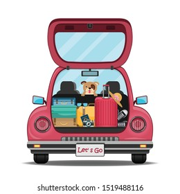 happy traveler and dog on red trunk car back with check in point travel around the world concept on white background Design. content paper art, vector, banner, Card, Poster,