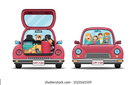 happy traveler man and woman dog on red trunk car back with check in point travel around the world concept on white background Design. content paper art, vector, banner, Card, Poster,