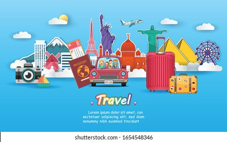 happy traveler on red car with check in point travel accessories around the world concept on blue background Design. Top world famous landmark. content paper art, vector, banner, Card, Poster,