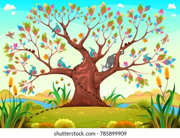 Happy tree with birds, insects and cat. Funny cartoon vector illustration for children.