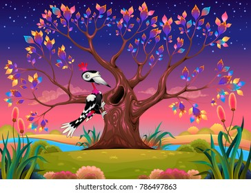 Happy tree in the countryside with woodpecker. Funny cartoon vector illustration for children.