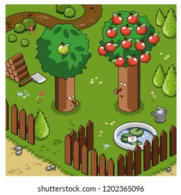 Happy tree with lots of red apples laughing at angry tree with just one green apple (isometric illustration)