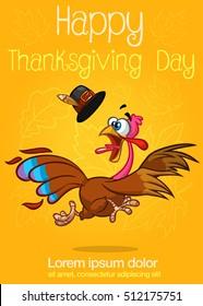 Happy turkey cartoon running isolated on orange background. Vector cartoon poster
