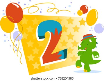 Happy Two Birthday card with dancing dinosaur