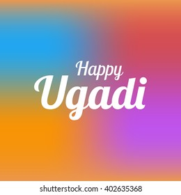 Happy Ugadi card template with blured mesh background vector
