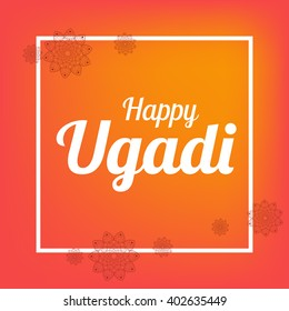 Happy Ugadi card template with flower mandala poster vector