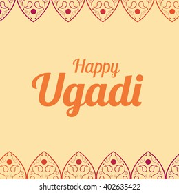 Happy Ugadi card template holiday poster vector