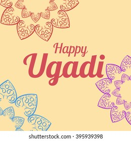 Happy Ugadi card template with mandala vector