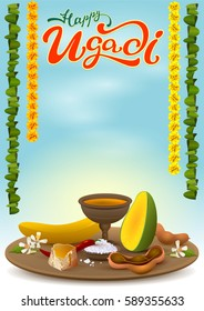 Happy Ugadi greeting card with festive dish. Hot red pepper, salt, brown sugar, banana, green mango, tamarind juice, neem flowers. Illustration in vector format