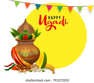 Happy ugadi greeting card text. Indian holiday traditional food in pot. Isolated on white vector illustration