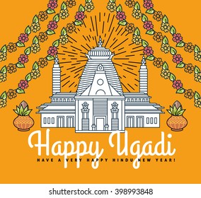 Happy Ugadi and Gudi Padwa Hindu New Year flat thin line template. Modern minimal linear vector illustration with Indian temple, copper pot, mango leaves, flower garland, bamboo stick, design elements