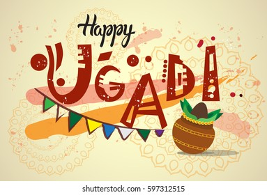 Hindu new year images stock photos vectors shutterstock happy ugadi and gudi padwa hindu new year greeting card holiday pot with coconut flat vector m4hsunfo