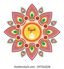 Happy Ugadi Gudi Padwa Hindu New Year Greeting Card Holiday Flat Vector Illustration