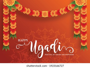 Happy ugadi or gudi padwa for indian festival with gold patterned and crystals on paper color Background.