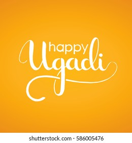 Happy Ugadi handwritten lettering. New Year's Day of Hindu calendar. Modern vector hand drawn calligraphy for your poster, banner, postcard, invitation or greeting card design