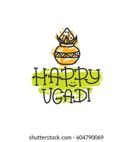 Happy Ugadi. The Hindu new year. Print for holiday. Gold pot with coconut. Vector illustration