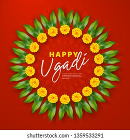 Happy Ugadi holiday composition - Hindu New Year festival. Wreath decorated flowers with mango leaves. Red rangoli background. Vector illustration.