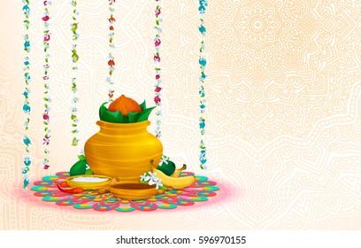 Happy Ugadi, holiday set, template, greeting card. Gold pot, coconut, flowers of Neem tree, mangoes, tamarind, pepper, sugar water, bananas, salts. Handdrawn vector illustration. Samvatsaradi, Yugadi
