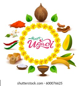 Happy Ugadi lettering text. Set of accessories food. Coconut, sugar, salt, pepper, banana, mango. Isolated on white vector illustration