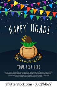 Happy Ugadi poster with flags on a dark background.