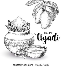 Happy Ugadi. Template greeting card for holiday. Sketch Style