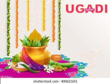 Happy Ugadi. Template greeting card for holiday. Gold pot with coconut. Illustration in vector format