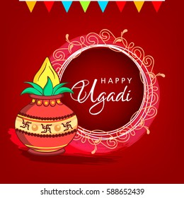 Happy Ugadi, Vector Illustration based on Floral Vintage Frame and stylish text with Kalash on decorative background.