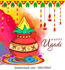 Happy Ugadi, Vector Illustration based on Colorful abstract decorative background with Kalash and Rangoli.