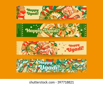 Happy Ugadi,Gudi Padwa Hindu banner templates set with hand drawn zentangle style ornament and typography inscription on a orange background.Vector illustration.