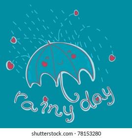 happy umbrella under the rain