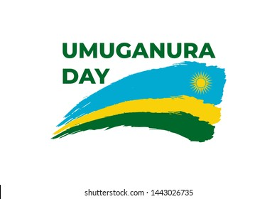 Happy umuganura Day, Rwanda thanksgiving or national harvest Day. Greeting card, banner, poster design print. Rwanda flag grunge vector on white background. Africa Republic national holiday