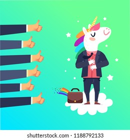 Happy unicorn businessman character. Happy successful employee concept. Vector colorful illustration in flat design style