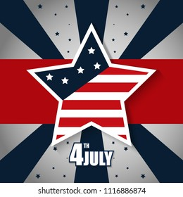 Happy USA Independence Day 4 th July. Greeting card and poster Design about Fourth of July National America Day