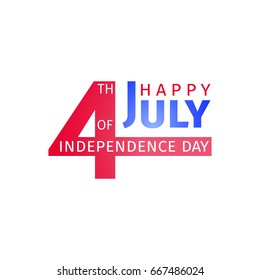 Happy USA Independence Day 4 th July. Greeting card and poster design based on numbers four