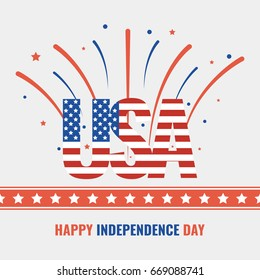 Happy USA Independence Day 4 th July. Greeting card and poster. Vector illustration.